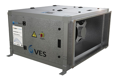 VES low noise Colourfan Twin Extract Acoustic air handling unit