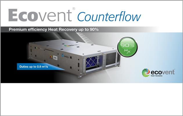Ecovent Counterflow heat recovery up to 90% efficiency