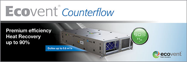 Ecovent Counterflow premium efficiency heat recovery units now available